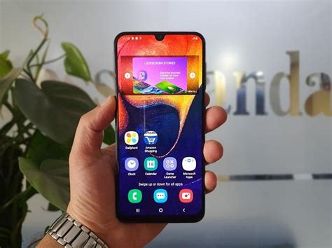 Samsung Galaxy A50 Front by Samsung Galaxy A50 Review Worthy Mid Range Phone Competing With Poco F1 Business Standard News