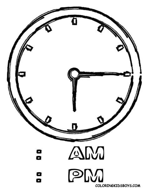 Free Coloring Pages Of Telling Time Clock Coloring Page