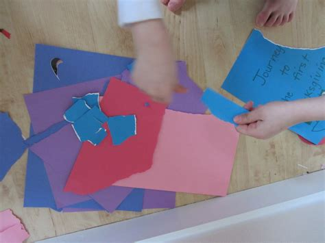 Paper Tearing Craft - mural cooperative project for no time for