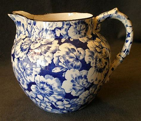 blue pattern pottery buffalo pottery quot geranium quot pattern jug pitcher in cobalt