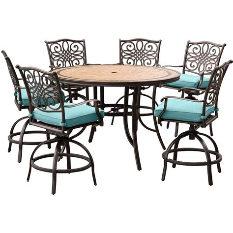 tile top bar table hanover monaco 7 piece aluminum round outdoor bar height