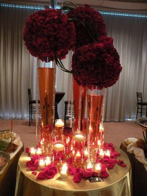 burgundy gold red centerpiece burgundy wedding wedding