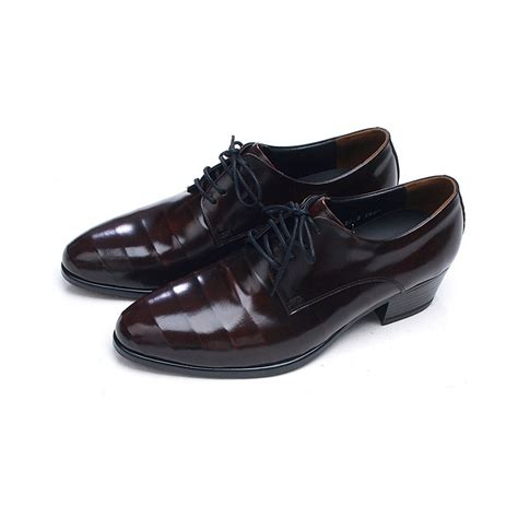 mens line wrinkles lace up high heels dress shoes