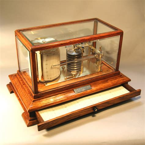 chart drawer 5 glass oak cased barograph with chart drawer for sale c