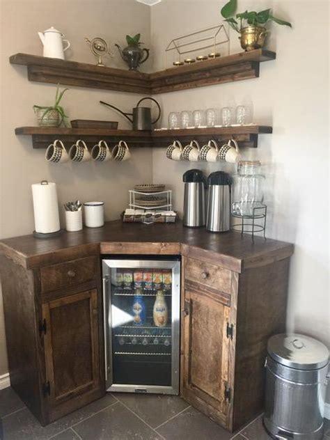 corner coffee station  floating shelves custom