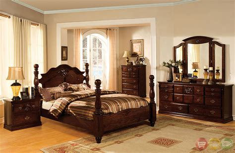 tuscan ii traditional glossy pine poster bedroom set