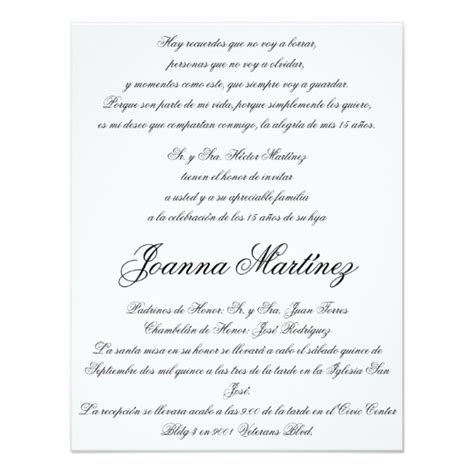 invitations templates for quinceaneras in spanish quinceanera invitations in spanish 4 25 x 5 5 zazzle
