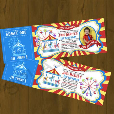 theme park tickets carnival ticket invitation amusement park with carousel