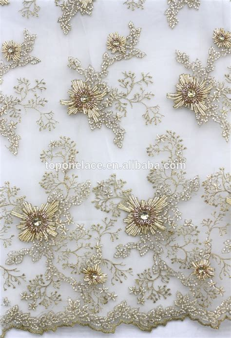 net french embroidery beaded sequin lace fabric for ladies suit fashion heavy beaded lace fabric 3d flower lace