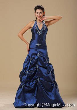 cheap haircuts topeka ks navy blue and appliques decorate halter for prom dress in