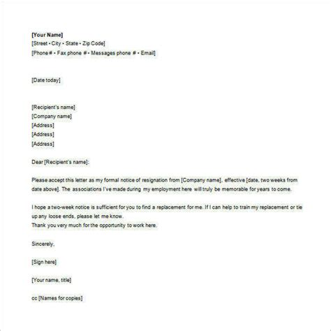 email resignation letter templates
