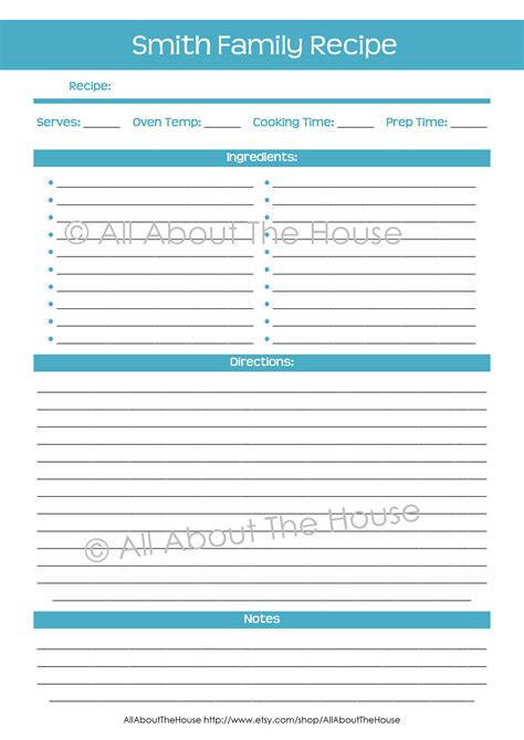 free recipe card template 8 5 x 11 make your own personalised printable recipe binder