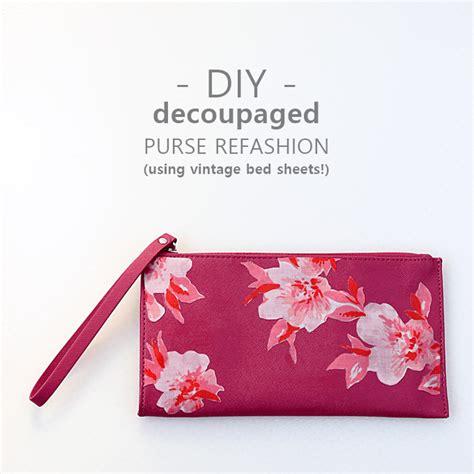 decoupage purse tutorial diy vintage floral purse refashion mod podge rocks