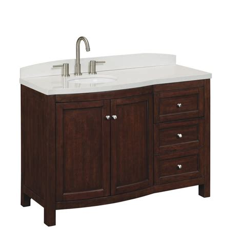 Lowes Bathroom Vanity Tops Shop Allen Roth 48 In Cherry Moravia Single Sink Bathroom Vanity With Top At Lowes