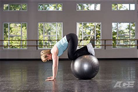 ace fit ab exercises stability ball knee tucks