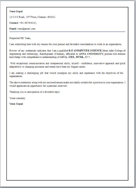 cover letter format for fresher cover letter format for freshers
