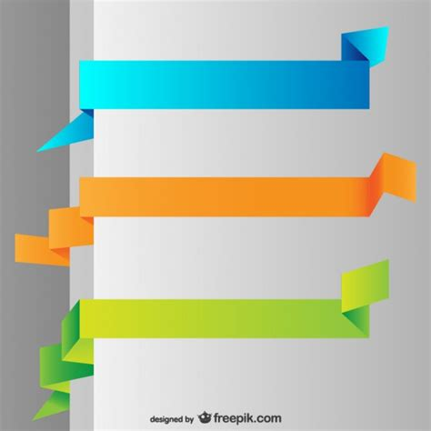 Origami Banner Vector - origami colorful banners vector free