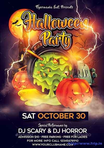 halloween party flyers print templates  fripin