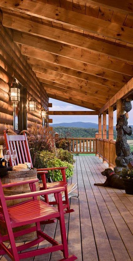 decorating ideas for log homes log home porch love the bear carving