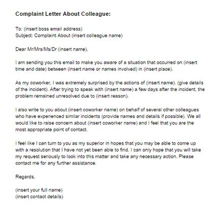 Complaint Letter About Colleague Behavior Complaint Letter About Coworker Sle Just Letter Templates