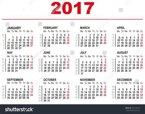 week list 2017 2017 calendar template horizontal weeks stock vector