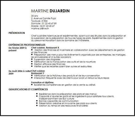 Resume Samples Livecareer by Cv Chef Cuisinier Exemple Cv Chef Cuisinier Livecareer