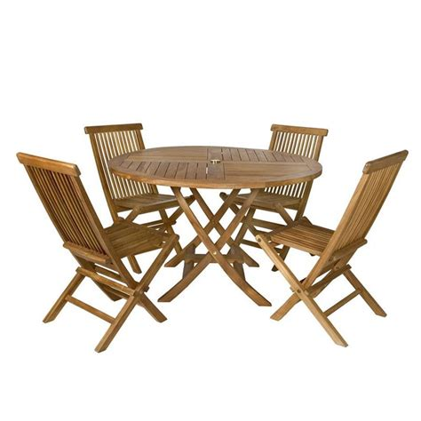 Teak Patio Dining Sets Shop All Things Cedar 5 Teak Patio Dining Set At Lowes