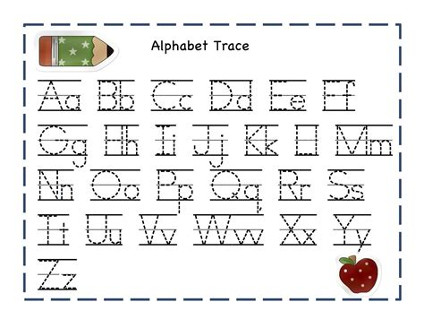 alphabet tracer pages for activity shelter