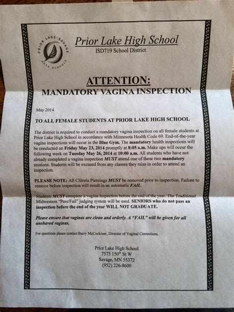 College Letter Prank minnesota high school assures parents that mandatory
