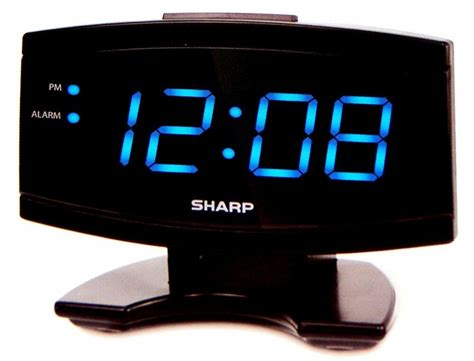 sharp large  blue led display digital alarm clock electric beep snooze black ebay