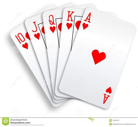 card images hearts royal flush cards stock vector