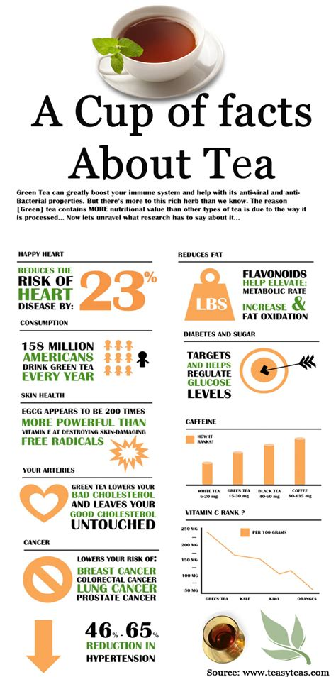 facts about green a cup of facts about tea infographics visual ly