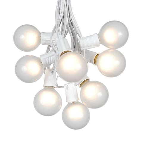 string white lights 100 frosted white g50 globe string light set on white wire