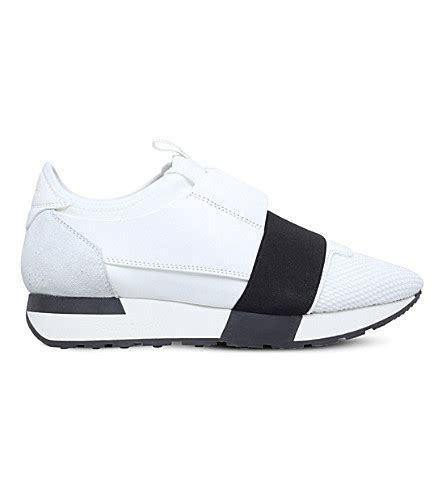 balenciaga race runners leather and mesh trainers selfridges