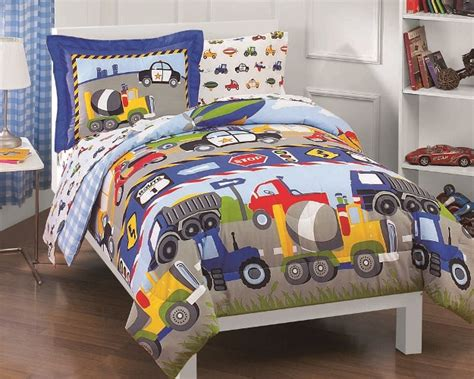 tractor bedding set new trucks tractors cars boys blue red twin bedding