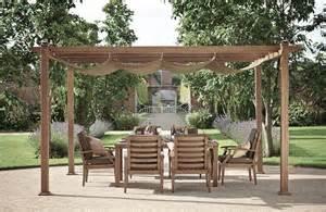 Architecte D Exterieur #15: Pergola-bois-chêne-toile-rétractable-meubles-jardin-assortis.jpg