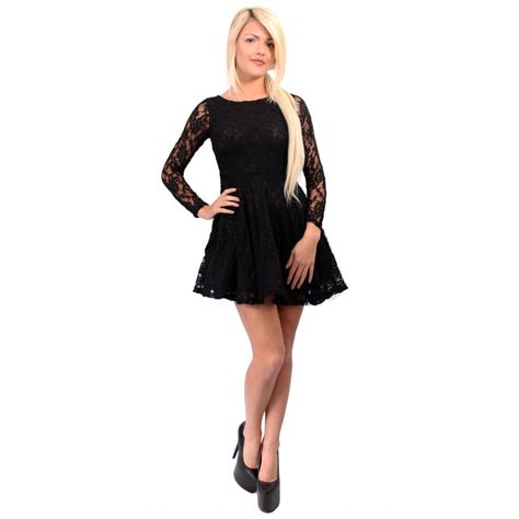 Black Sleeve Dress 220767 lack lace sleeve skater dress from parisia