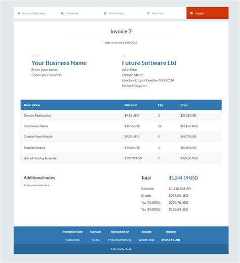 invoice templates automated billing hostbill