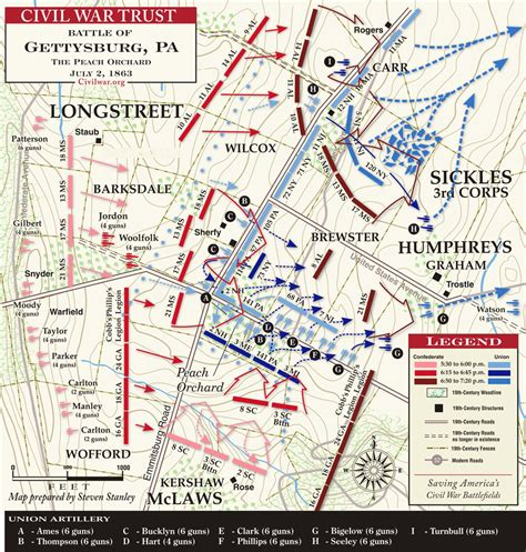 orchard map gettysburg day two the orchard wheat field and