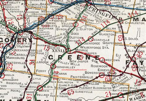 Greene County Oh Records Greene County Ohio 1901 Map Xenia Oh