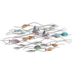 Fish Wall Decor by Large School Of Tropical Fish Nautical Metal Wall