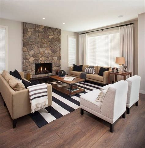 white and black rugs in contemporary living room to tie