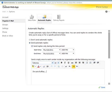 Configurer Les R 233 Ponses Automatiques Pour Un Utilisateur Dans Exchange 2010 Exchange Fr No Longer With The Company Auto Reply Template