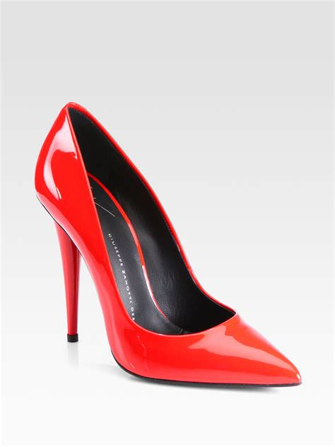 giuseppe zanotti patent leather pumps  red lyst