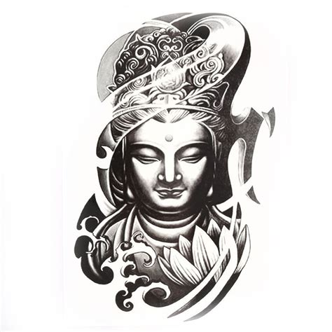 removable tattoo paper buddha pattern removable decor paper sticker