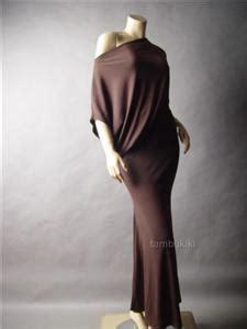 Asymmetric Shoulder Dress S M L 17712 brown shoulder asymmetric mermaid skirt blouson