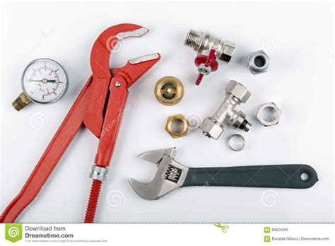 Plumbing Equipments by Plumbing Tools And Equimpent On White Stock Image Image