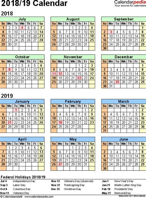 Calendar For Year 2018 United States Split Year Calendar 2018 19 Printable Word Templates