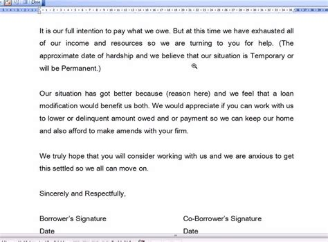 Letter Template To Mortgage Company hardship letter for mortgage modification business