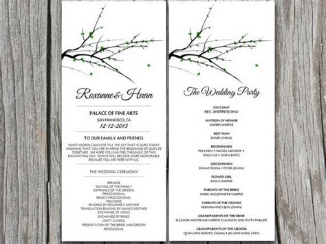 Diy Moss Green Tree Branch Winter Wedding Program Microsoft Word Template Garden Chinese Winter Program Template
